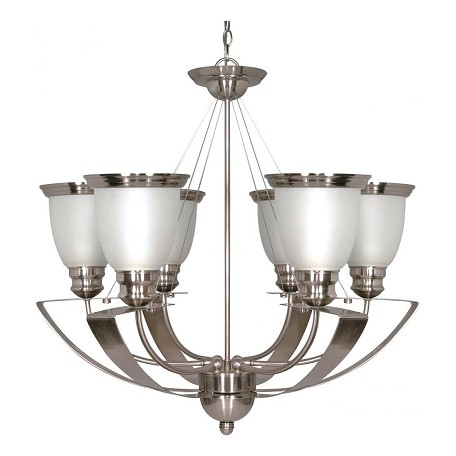 Nuvo Palladium - 6 Light - 25In. - Chandelier - W/ Satin Frosted Glass Sh