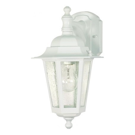 Nuvo Cornerstone - 1 Light - 13In. - Wall Lantern - Arm Down/Clear Seed G