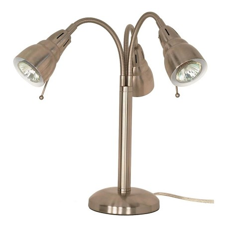 Satco products inc tri head halogen gooseneck desk lamp for Satco gooseneck floor lamp