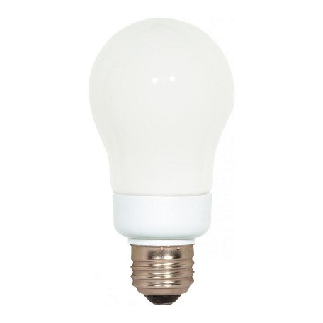 Satco Products Inc. 7 Watt; A19; Compact Fluorescent; 4100K; 82 Cri; Medium Base