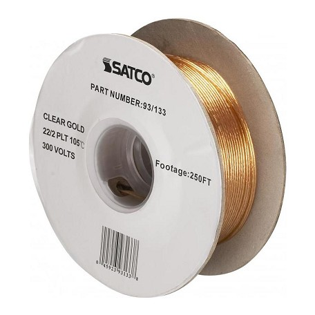 Satco Products Inc. Spool Wire 22/2 French Wire Clear/Gold 250&#3