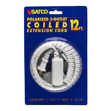 Satco Products Inc. 12In. Coiled Extension Cord-White