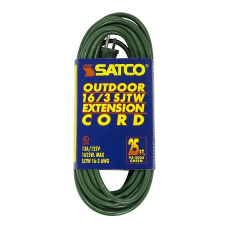 Satco Products Inc. 25Ft 16/3 Sjtw Green Extension