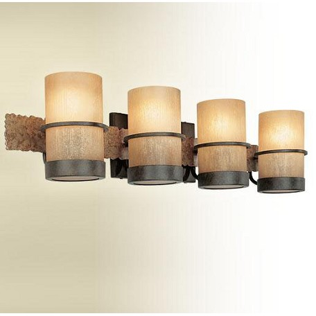 Troy Four Light Bamboo Bronze Vanity