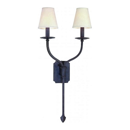 Troy Two Light French Iron Wall Light