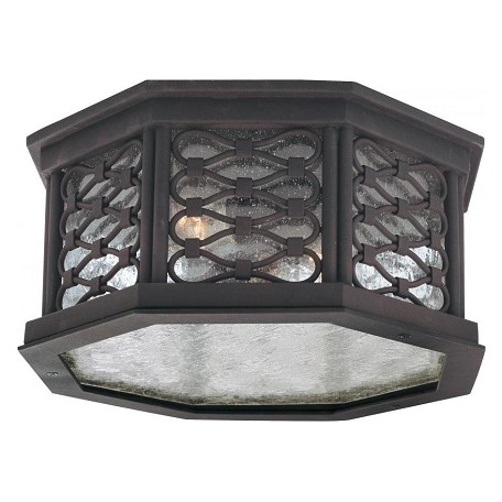 Troy Two Light Old Iron Outdoor Flush Mount