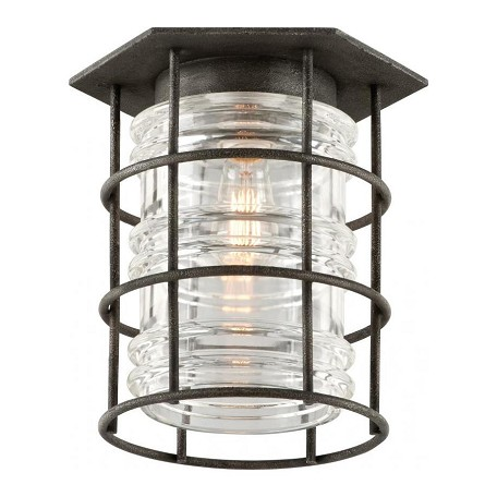 Troy One Light Aged Pewter Outdoor Flush Mount