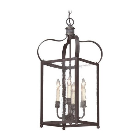Troy Four Light Charred Iron Framed Glass Foyer Hall Fixture