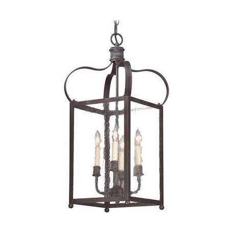 Troy Four Light Natural Rust Framed Glass Foyer Hall Fixture