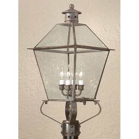 Troy Four Light Natural Aged Brass Post Light