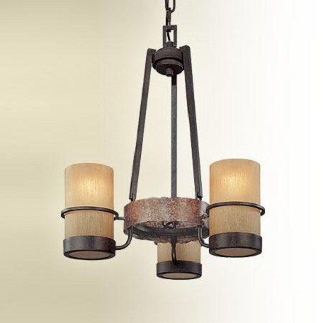 Troy Three Light Bamboo Bronze Candle Chandelier