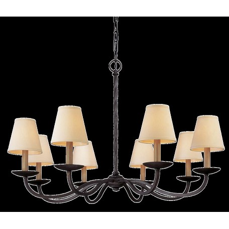 Troy Eight Light English Iron Up Chandelier