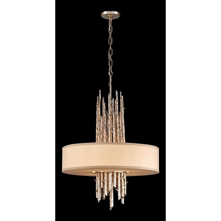 Troy Four Light Silver Leaf Finish Drum Shade Pendant