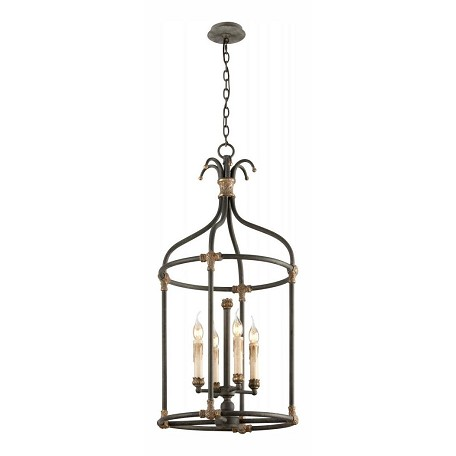Troy Four Light Distressed Black Wit Open Frame Foyer Hall Fixture