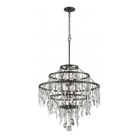 Troy Nine Light Graphite Down Chandelier