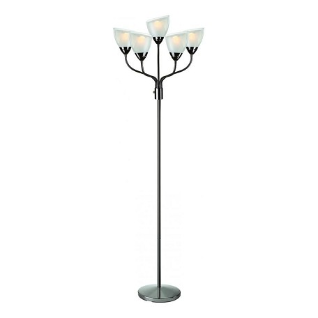 Lite Source Inc. 5-Lite Floor Lamp, Gun Metal/Acrylic Double Shade, Cfl 11Wx5