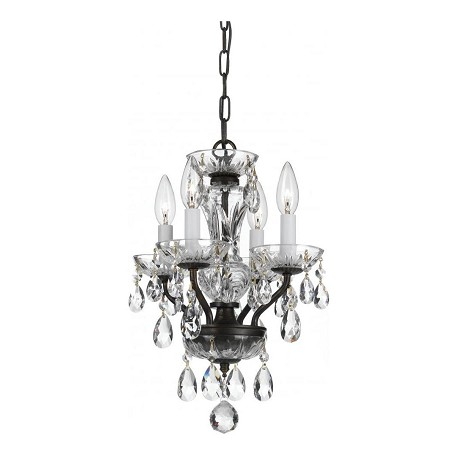 Crystorama Traditional 4 Light Bronze Hand Cut Crystal Mini Chandelier