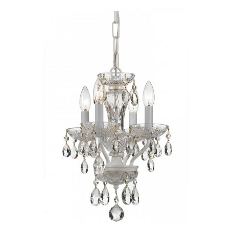 Crystorama Traditional Crystal 4 Light White Mini Chandelier