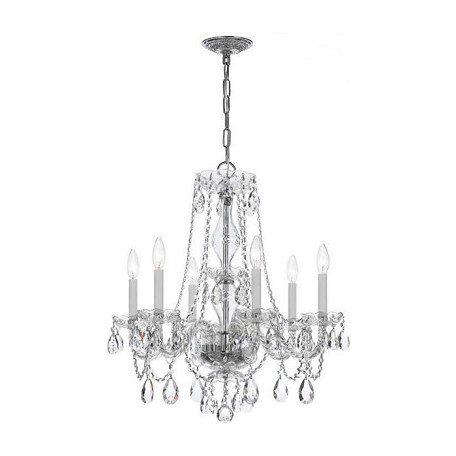 Crystorama Traditional Chrome Clear Crystal Glass Chandelier With 6 Lights