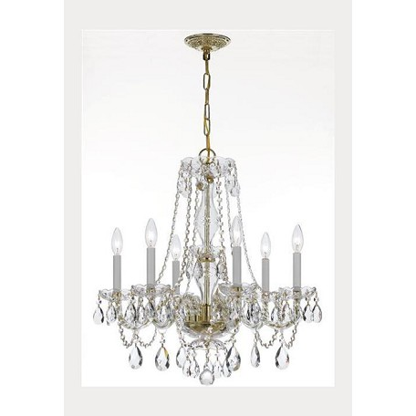 Crystorama Polished Brass Traditional Crystal 6 Light Single Tier Chandelier