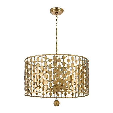 Crystorama Antique Gold Layla 6 Light Single Tier Chandelier