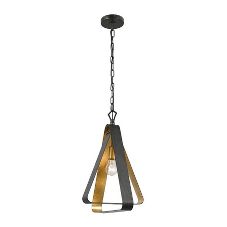 Crystorama English Bronze and Antique Gold Luna 1 Light Pendant