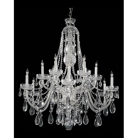 Crystorama Traditional Crystal 12 Light Clear Swarovski Crystal Chrome Chandelier Iii