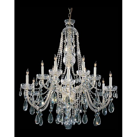 Crystorama Polished Brass Traditional Crystal 12 Light 2 Tier Chandelier