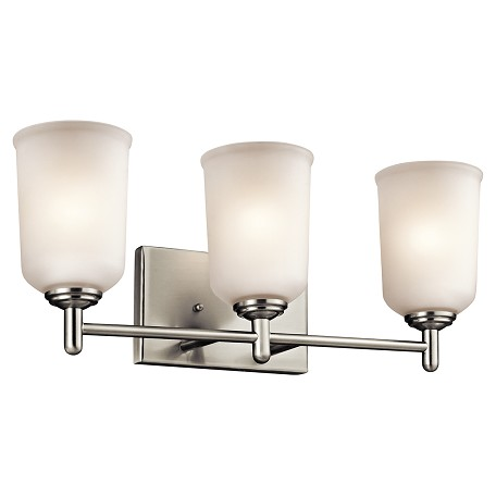 Large Bathroom Vanity Lights : Kichler Brushed Nickel Shailene 21In. Wide 3 Light Bathroom Vanity Light Brushed Nickel 45574NI ...
