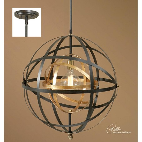 Uttermost One Light Bronze Down Pendant Bronze 22038 From Rondure Collection
