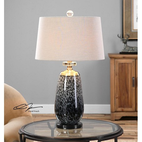 Uttermost Vergato Charcoal Glass Table Lamp Black 26687