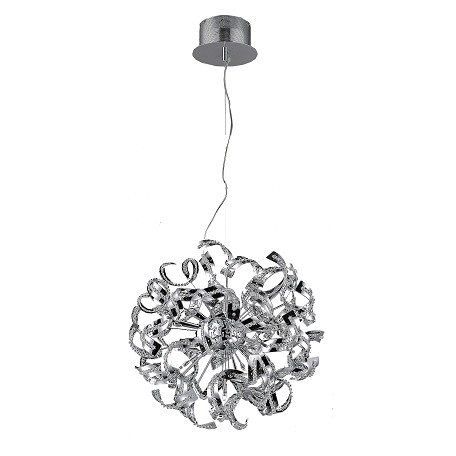Elegant Lighting Chrome Tiffany 19in. Wide 9 Light Pendant with Elegant Cut Crystal