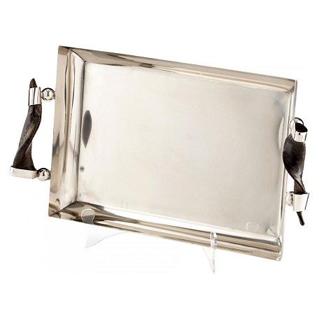 Cyan Designs Stainless Steel Arezzo 19 Inch Wide Iron Horn and Brass Tray Made in India
