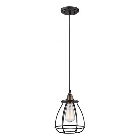 Nuvo Vintage - 1 Light Caged Pendant - Vintage Lamp Included