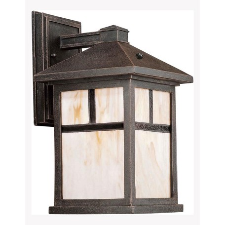 Forte One Light Painted Rust Honey  Panels Glass Wall Lantern