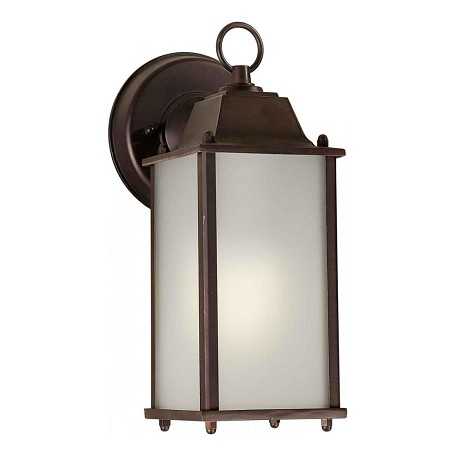 Forte One Light Antique Bronze Satin White  Panels Glass Wall Lantern