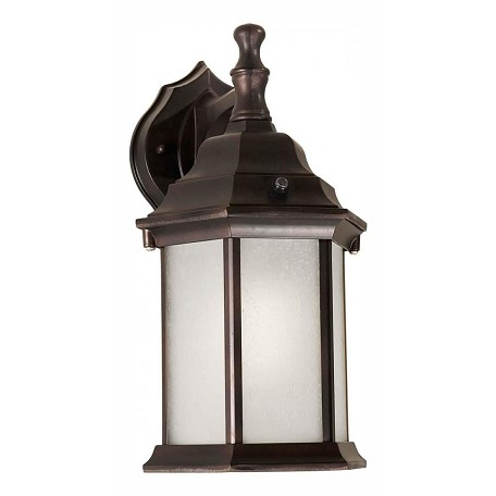 Forte One Light Antique Bronze Frosted Seeded  Panels Glass Wall Lantern