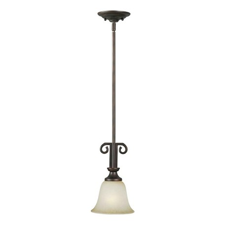 Forte One Light Antique Bronze Umber Mist Glass Down Mini Pendant