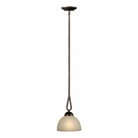 Forte One Light Antique Bronze Shaded Umber Glass Down Mini Pendant