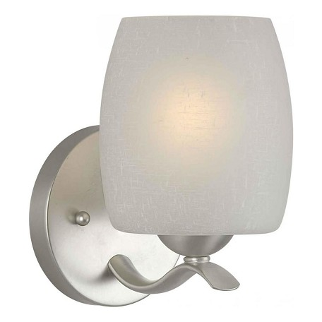 Forte One Light Brushed Nickel White Linen Glass Bathroom Sconce Brushed Nickel 5251 01 55 From
