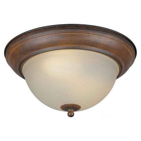 Forte Two Light Rustic Sienna Shaded Umber Glass Bowl Flush Mount
