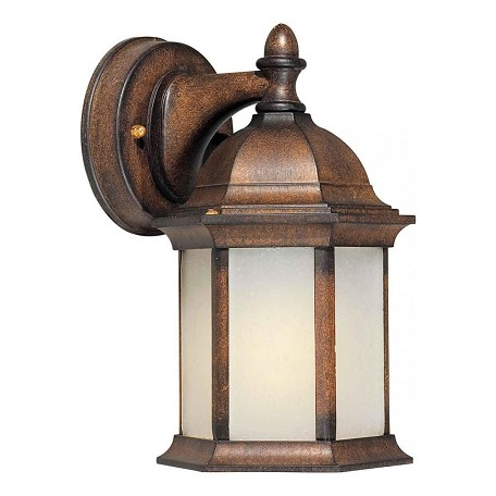 Forte One Light Rustic Sienna Frosted Seeded  Panels Glass Wall Lantern