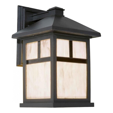 Forte One Light Black Honey  Panels Glass Wall Lantern