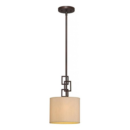 Forte One Light Antique Bronze Fabric Shade Down Mini Pendant