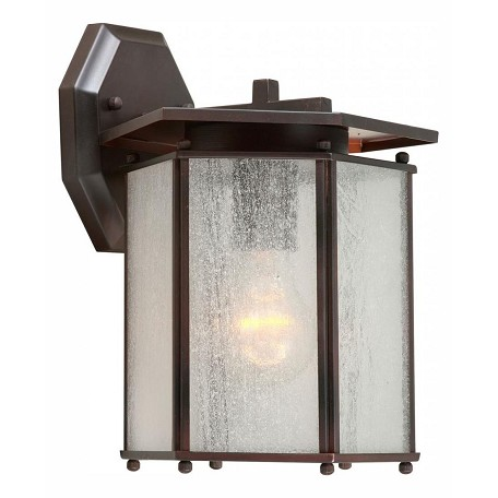 Forte One Light Antique Bronze Clear Seeded  Panels Glass Wall Lantern