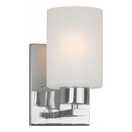 Forte one light chrome frosted seeded glass bathroom sconce chrome 5086 01 05 for Seeded glass bathroom lighting