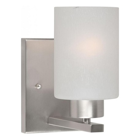 Forte one light brushed nickel frosted seeded glass vanity brushed nickel 5086 01 55 for Seeded glass bathroom lighting