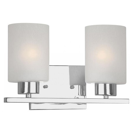 Forte two light chrome frosted seeded glass vanity chrome 5086 02 05 for Seeded glass bathroom lighting