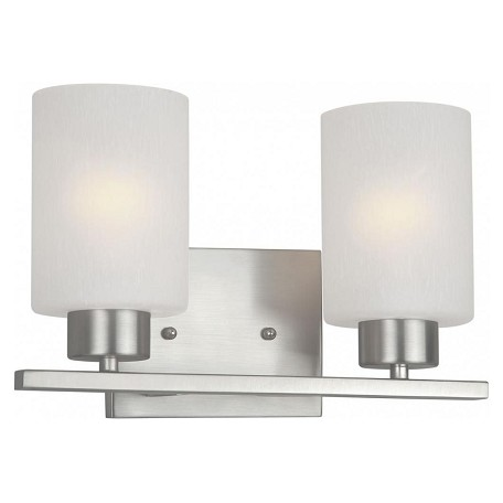 Forte two light brushed nickel frosted seeded glass vanity brushed nickel 5086 02 55 for Seeded glass bathroom lighting