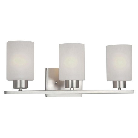 Forte three light brushed nickel frosted seeded glass vanity brushed nickel 5086 03 55 for Seeded glass bathroom lighting